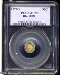 California Fractional Gold: , 1875/3 50C Indian Round 50 Cents, BG-1058, R.3, AU55 PCGS.