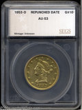 Additional Certified Coins: , 1853-O $10 Repunched Date Eagle AU53 (AU53) SEGS. Breen-...