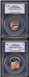 Errors: , A mated error pair that includes a: 2000 1C Lincoln ... (2 Coins)