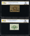 Fr. 1232SP 5¢ Second Issue Narrow Margin Face PCGS Banknote Choice AU 58; Fr. 1242 10¢ First Issue PCGS Bankno...