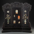 Carvings, A Chinese Jade and Hardstone Inlaid Table Screen. 23-1/2 x 22-1/2 x 4 inches (59.7 x 57.2 x 10.2 cm). ...