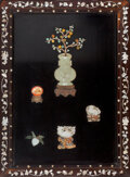 Carvings, A Chinese Jade and Hardstone Inlaid Table Screen. 22-1/2 x 16-3/4 inches (57.2 x 42.5 cm). ...