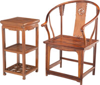 A Chinese Carved Rosewood Horseshoe Chair and Side Table 40-1/2 x 27-1/2 x 19-1/2 inches (102.9 x 69.9 x 49.5 cm) (chair...