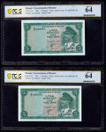 Brunei Government of Brunei 5 Ringgit 1967 Pick 2a KNB2 Two Consecutive Examples PCGS Banknote Choice UNC 64 (2). ... (T...
