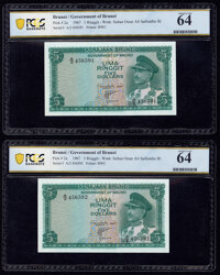 Brunei Government of Brunei 5 Ringgit 1967 Pick 2a KNB2 Two Consecutive Examples PCGS Banknote Choice UNC 64 (2)<...
