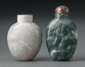 Carvings, A Chinese Calcified Jade Snuff Bottle and a Chinese Carved Agate Snuff Bottle, 18th century . 2-1/8 x 1-1/2 inches (5.4 x 3.... (Total: 2 Items)