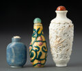 Ceramics & Porcelain, A Group of Three Chinese Porcelain Snuff Bottles. Marks to gourd and vine example: four-character Yongzheng mark to undersid... (Total: 3 Items)