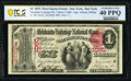 New York, NY - $1 1875 Fr. 385 The Merchants Exchange National Bank Ch. # 1080 PCGS Banknote Extremely Fine 40 PPQ