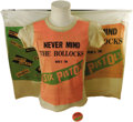 "Music Memorabilia:Memorabilia, Sex Pistols ""Never Mind the Bollocks"" Promo Items. Includes at-shirt, pinback button, and a 33"" x 25"" window hanging -- all..."