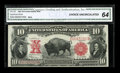 Large Size:Legal Tender Notes, Fr. 122 $10 1901 Legal Tender Mule CGA Gem Uncirculated 64. Aminiscule corner tip fold is far outside the design, save by t...