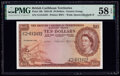 British Caribbean Territories Currency Board 10 Dollars 2.1.1958 Pick 10b PMG Choice About Unc 58 EPQ