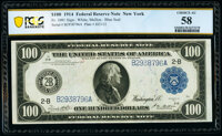 Fr. 1091 $100 1914 Federal Reserve Note PCGS Banknote Choice AU 58