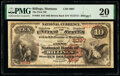 National Bank Notes:Montana, Billings, MT - $10 1882 Brown Back Fr. 484 The First National Bank Ch. # 3097 PMG Very Fine 20....