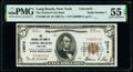 National Bank Notes:New York, Serial Number 1 Long Beach, NY - $5 1929 Ty. 1 The National City Bank Ch. # 13074 PMG About Uncirculated 55 EPQ.. ...