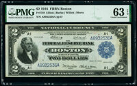 Fr. 749 $2 1918 Federal Reserve Bank Note PMG Choice Uncirculated 63 EPQ