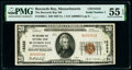 National Bank Notes:Massachusetts, Serial Number 1 Buzzards Bay, MA - $20 1929 Ty. 1 The Buzzards Bay National Bank Ch. # 13222 PMG About Uncirculated 55...