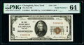 National Bank Notes:New York, Serial Number 1 Champlain, NY - $20 1929 Ty. 1 The First National Bank Ch. # 316 PMG Choice Uncirculated 64.. ...