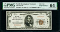 Serial Number 1 North Bennington, VT - $5 1929 Ty. 1 The First National Bank Ch. # 194 PMG Choice Uncir