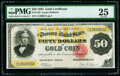 Large Size:Gold Certificates, Fr. 1193 $50 1882 Gold Certificate PMG Very Fine 25.. , this pie. ...