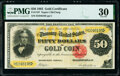 Large Size:Gold Certificates, Fr. 1197 $50 1882 Gold Certificate PMG Very Fine 30.. ...