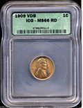 Lincoln Cents: , 1909 VDB MS66 Red ICG. ...