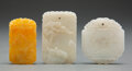 Carvings, A Group of Three Chinese Carved Jade Plaques. 2-1/4 x 1-1/2 x 0-1/8 inches (5.7 x 3.8 x 0.3 cm) (tallest). ... (Total: 3 Items)