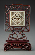 Carvings, A Chinese Carved Celadon Jade Plaque Table Screen. 6 x 3-1/4 x 1-1/2 inches (15.2 x 8.3 x 3.8 cm). ...