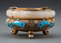 A Chinese Jade Bangle Mounted on Cloisonné Ashtray Marks: SILVER 1-3/4 x 3-1/4 inches (4.4 x 8.3 cm)