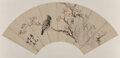 Works on Paper, Chinese School (19th-20th Century). Two Fan Paintings. Fan leaf, ink on color and paper. 9-1/4 x 19-...
