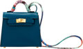 Luxury Accessories:Bags, Hermès 6.5cm Blue Izmir Tadelakt Leather Kelly Twilly Bag Accessory. Z, 2021. Condition: 1