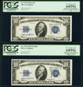 Small Size:Silver Certificates, Reverse Changeover Pair Fr. 1702/1701 $10 1934A/1934 Mule Silver Certificates PCGS Very Choice New 64PPQ.. ... (Total: 2 notes)