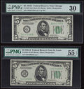 Small Size:Federal Reserve Notes, Fr. 1957-G $5 1934A Mule Federal Reserve Note. PMG Very Fi...
