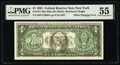 Error Notes, Offset Printing of Front to Back Error Fr. 1911-B $1 1981 Federal Reserve Note. PMG About Uncirculated 55.. ...