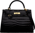 Luxury Accessories:Bags, Hermès 32cm Shiny Black Niloticus Crocodile Sellier Kelly Bag with Gold Hardware. T, 2015. Conditio...