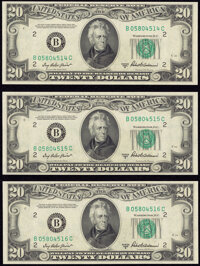 Fr. 2061-B $20 1950B Federal Reserve Notes. Three Consecutive Examples. Choice Crisp Uncirculated. ... (Total: 3 notes)