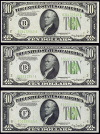 Fr. 2004-B (2); F $10 1934 Light Green Seal Federal Reserve Notes. Extremely Fine-About Uncirculated or Better. ... (Tot...