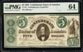 Confederate Notes:1861 Issues, CT33/250 Counterfeit $5 1861 PMG Choice Uncirculated 64.. ...