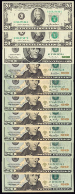 A Varied Selection of Modern $20 Federal Reserve Notes. Crisp Uncirculated or Better. ... (Total: 11 notes)