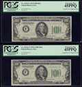 Changeover Pair Fr. 2152-F/2153-F $100 1934/1934A Mule Federal Reserve Notes PCGS Extremely Fine 45PPQ. ... (Total: 2 no...