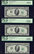 Small Size:Federal Reserve Notes, Wide/Narrow Changeover Pair Fr. 2010-G $10 1950 Federal Reserve Notes. Three Consecutive Examples. PCGS Gem New 65PPQ; Very Ch... (Total: 3 notes)