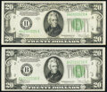 Fr. 2057-B; H $20 1934C Old Back Federal Reserve Notes. Extremely Fine or Better. ... (Total: 2 notes)