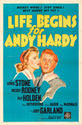 Movie Posters:Comedy, Life Begins for Andy Hardy (MGM, 1941). Folded, Very Fine-...