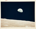 """Explorers:Space Exploration, Apollo 8 Vintage NASA """"Red Number"""" Color Photo, Image AS8-14-2383 """"Earthrise""""...."""
