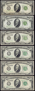Six $10 Federal Reserve Notes. Very Fine or Better. ... (Total: 6 notes)