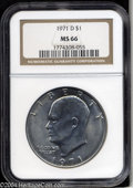 Eisenhower Dollars: , 1971-D MS66 NGC. ...