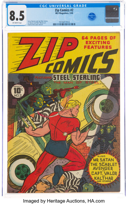 Zip Comics #2 (MLJ, 1940) CGC VF+ 8.5 Off-white pages....