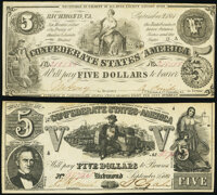 T36 $5 1861 PF-4 Cr. 278 Very Fine; T37 $5 1861 PF-2 Cr. 285 Very Fine. ... (Total: 2 notes)