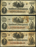 Confederate Notes:1862 Issues, T41 $100 1862 PF-8 Cr. 321 Fine-Very Fine;. T41 $100 1862 PF-23 Very Good;. T41 $100 1862 PF-25 Cr. 318A Very Good-Fin... (Total: 3 notes)