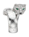 Estate Jewelry:Rings, Cartier Diamond, Emerald, Black Onyx, White Gold Ring, French. ...