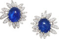 Estate Jewelry:Earrings, Pair of platinum, cabochon sapphire and diamond flower earclips. Designed as blooming flowers, each ear clip ce